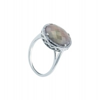 AGATE BRIO HALO WHITE GOLD RING