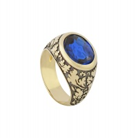ANTIQUE OVAL SAPPHIRE FLORAL MOTIF RING