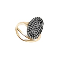 ANTIQUE PAVE OVAL ROSE GOLD RING