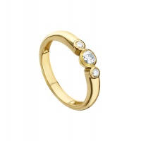 BEZEL SET YELLOW GOLD TRILOGY RING