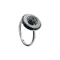 BLACK AND WHITE DIAMOND PAVE RING