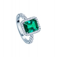 EMERALD HALO PAVE WHITE GOLD RING