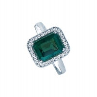 EMERALD HALO WHITE GOLD RING