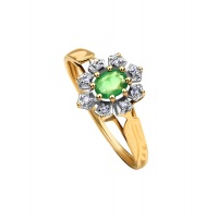EMERALD OVAL HALO YELLOW GOLD RING