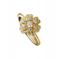 FLORAL ANTIQUE YELLOW GOLD RING