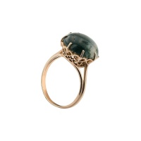 MALACHITE ROUND CABOCHON ANTIQUE RING