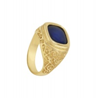 MENS ANTIQUE SAPPHIRE CUSHION RING