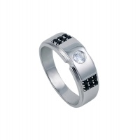 MENS BLACK AND WHITE DIAMONDS GOLD PAVE RING
