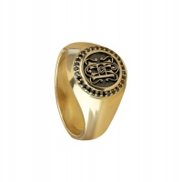 MENS BLACK DIAMOND PERSONALISED YELLOW GOLD RING