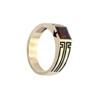 MENS GARNET PRINCESS MOTIF RING