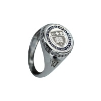 MENS PERSONALISED LOGO WHITE GOLD RING