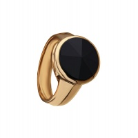 MENS POINT BLACK ONYX ROSE GOLD RING