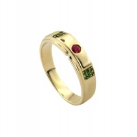 MENS RUBY EMERALD PAVE RING