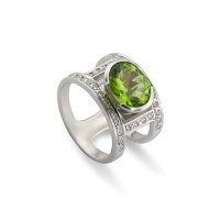 PERIDOT DOUBLE PAVE WIDE RING