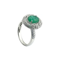 PIRRO EMERALD MOTIF TRIPLE HALO PAVE RING