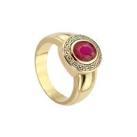 PIRRO MOTIF MENS CLASSIC RUBY RING
