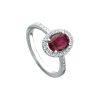 RUBY HALO PAVE WHITE GOLD RING
