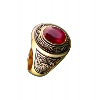 RUBY MENS OVAL PERSONALISED YELLOW GOLD RING