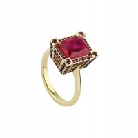 RUBY OCTAGON TRIPLE PAVE YELLOW GOLD RING