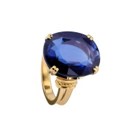 SAPPHIRE OVAL ANTIQUE YELLOW GOLD RING