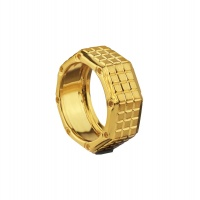 SQUARE MOTIF YELLOW GOLD BAND
