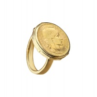 STUDDED CLASSIC COIN YELLOW GOLD RING