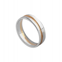 WHITE AND ROSE GOLD SQUARE FLAT BAND