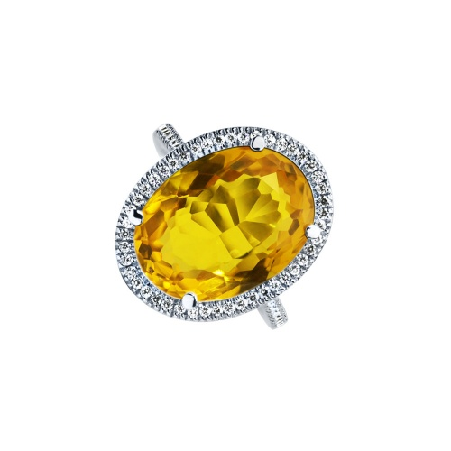 CITRINE OVAL HALO PAVE RING