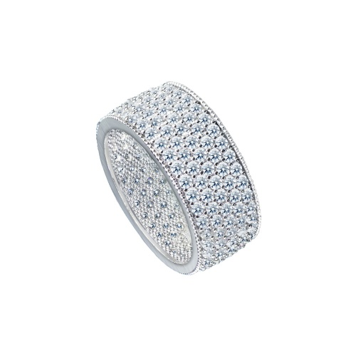 MULTIPLE PAVE WHITE GOLD BAND